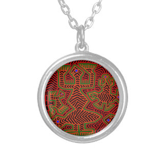 Kuna Indian Mola Spirits Silver Plated Necklace