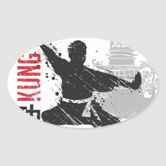 Kung Fu Oval Sticker