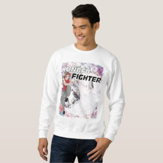 Kungfu Fighter in Abstract Yin Yang Background Sweatshirt
