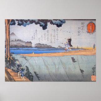Kuniyoshi Mount Fuji in the Evening Sumida River Poster