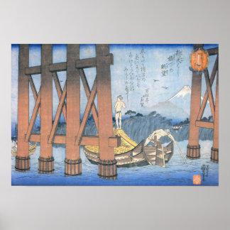 Kuniyoshi Mt. Fuji beneath Shin-Ôhashi Bridge Poster