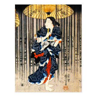 Kuniyoshi Three Women With Umbrellas Postcard