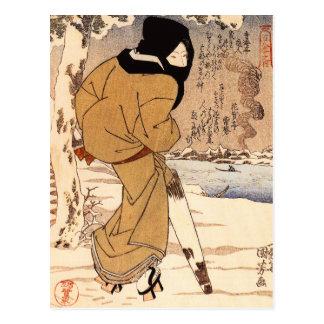 Kuniyoshi Woman Walking in the Snow Postcard