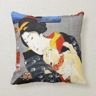 Kuniyoshi Woman with a Cat Pillow