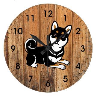 Kuro Shiba Inu dog cartoon Clock