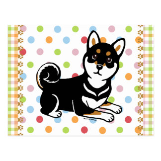 Kuro Shiba Inu dog cartoon Postcard