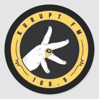 kurupt fm stickers.. 108.9. straight thru ya spine round sticker