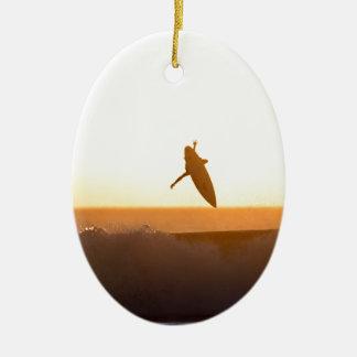 Kuta Beach surfing sunset Ceramic Ornament