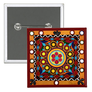 Kutch Embroidery-Mini Exotic Global Art Tile Pin