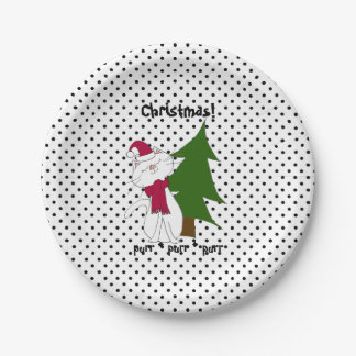 Kute Kitty Christmas Paper Plates 7 Inch Paper Plate