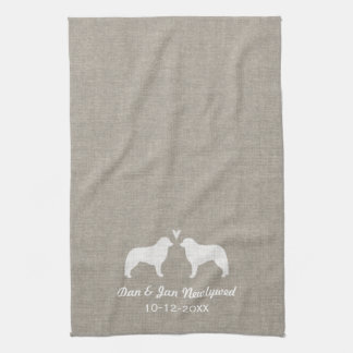 Kuvasz Silhouettes with Heart Tea Towel