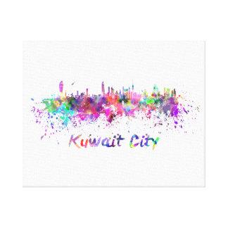 Kuwait City skyline in watercolor Canvas Print