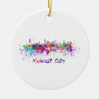Kuwait City skyline in watercolor Ceramic Ornament