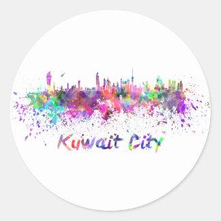 Kuwait City skyline in watercolor Classic Round Sticker