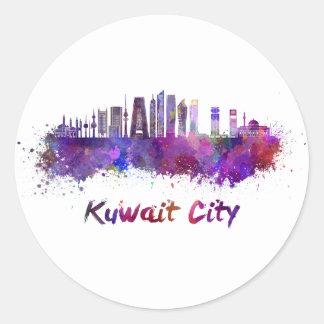 Kuwait City V2 skyline in watercolor Classic Round Sticker