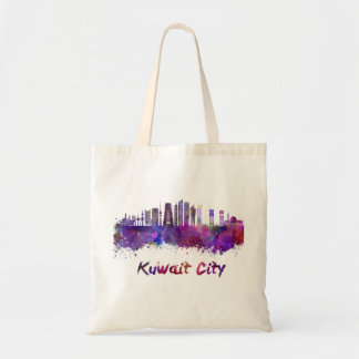 Kuwait City V2 skyline in watercolor Tote Bag
