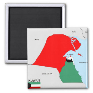 kuwait country map flag square magnet