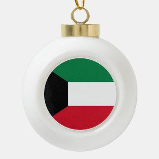 Kuwait Flag Ceramic Ball Christmas Ornament