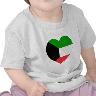 Kuwait Flag Heart Tees