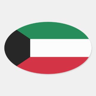 Kuwait Flag Oval Sticker