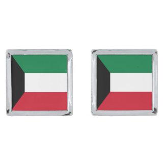 Kuwait Flag Silver Finish Cufflinks