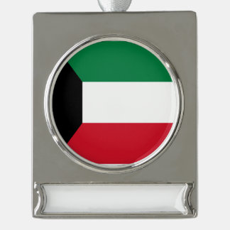 Kuwait Flag Silver Plated Banner Ornament