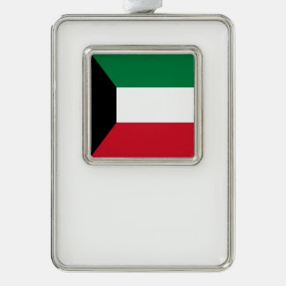 Kuwait Flag Silver Plated Framed Ornament