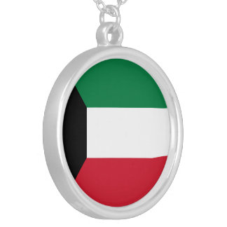 Kuwait Flag Silver Plated Necklace