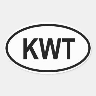 "Kuwait KWT"" Oval Sticker"