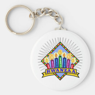 Kwanzaa Basic Round Button Key Ring