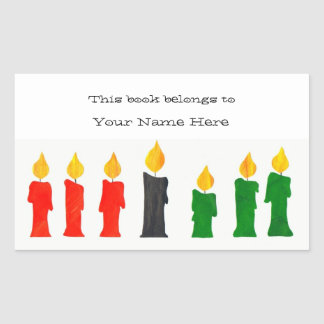 Kwanzaa Bookplates with Candles Rectangular Sticker