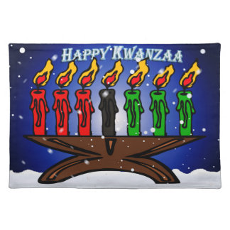 Kwanzaa Candle Kinara with Snow And Greeting Place Mats