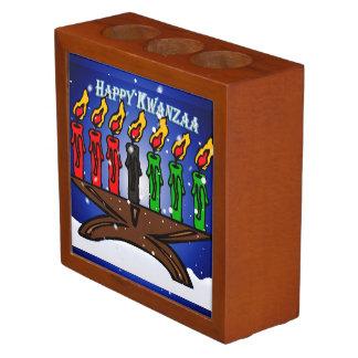 Kwanzaa Candle Kinara with Snow And Greeting Desk Organisers