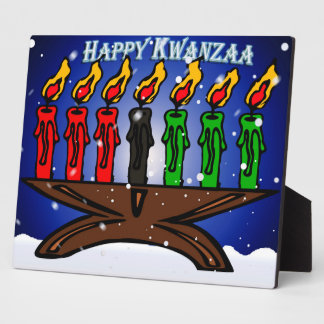 Kwanzaa Candle Kinara with Snow And Greeting Plaque