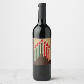 Kwanzaa Candles Crochet on Wine Bottle Label