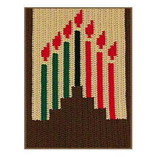 Kwanzaa Candles Natural Brown Kinara Crochet Print Postcard