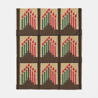 Kwanzaa Candles Red Black Green Crochet Print on Fleece Blanket