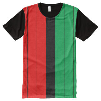 Kwanzaa Colors Red Black Green Stripes Pattern All-Over Print T-Shirt