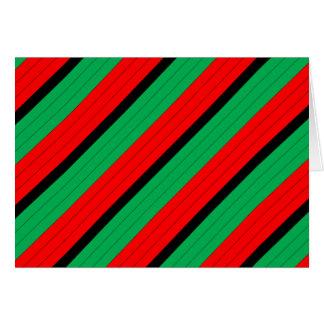 Kwanzaa Colors Red Black Green Stripes Pattern Card