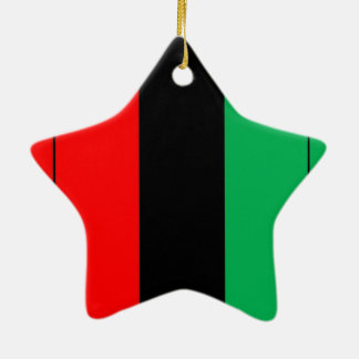 Kwanzaa Colors Red Black Green Stripes Pattern Ceramic Star Decoration