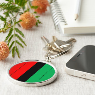 Kwanzaa Colors Red Black Green Stripes Pattern Key Ring