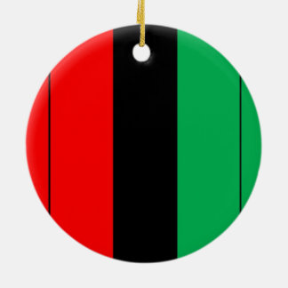 Kwanzaa Colors Red Black Green Stripes Pattern Round Ceramic Decoration