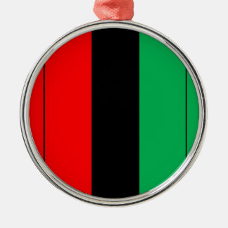 Kwanzaa Colors Red Black Green Stripes Pattern Silver-Colored Round Decoration