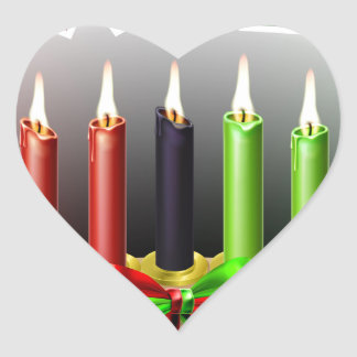 Kwanzaa Design Heart Sticker