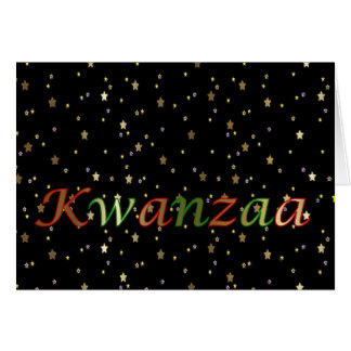 Kwanzaa Green Red Black Golden Stars Greeting Card