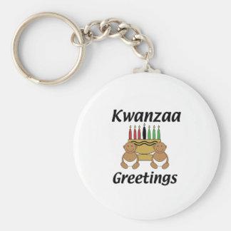 Kwanzaa Greetings Basic Round Button Key Ring