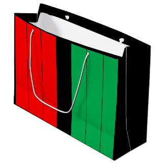 Kwanzaa Kinara Red Black Green Stripes Pattern Large Gift Bag
