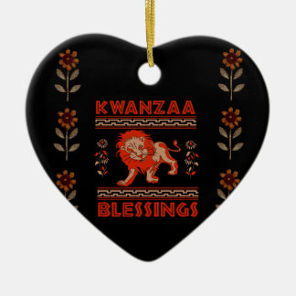 Kwanzaa Lion Ceramic Heart Decoration