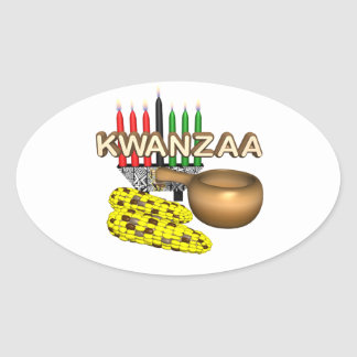 Kwanzaa Oval Sticker