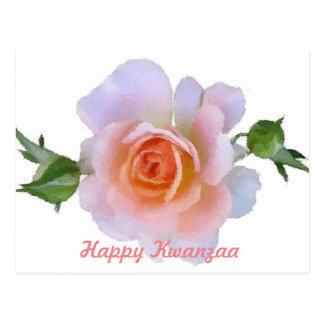 Kwanzaa, Pink Rose, floral paintbrush art Postcard